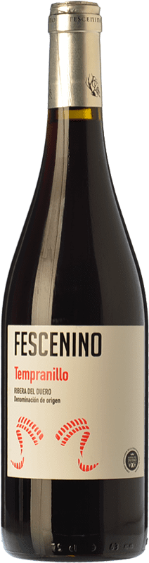 6,95 € Envío gratis | Vino tinto Juan Manuel Burgos Fescenino Joven D.O. Ribera del Duero Castilla y León España Tempranillo Botella 75 cl