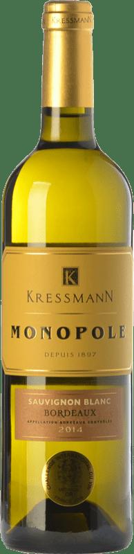 8,95 € Envío gratis | Vino blanco Kressmann Monopole Blanc Crianza A.O.C. Bordeaux Burdeos Francia Sauvignon Blanca Botella 75 cl