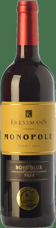 9,95 € Envío gratis | Vino tinto Kressmann Monopole Rouge Crianza A.O.C. Bordeaux Supérieur Burdeos Francia Merlot, Cabernet Sauvignon Botella 75 cl