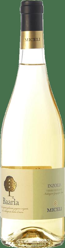 9,95 € Free Shipping | White wine Miceli Baaria Inzolia I.G.T. Terre Siciliane Sicily Italy Insolia Bottle 75 cl