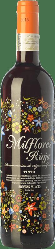 7,95 € Envío gratis | Vino tinto Palacio Milflores Joven D.O.Ca. Rioja La Rioja España Tempranillo Botella 75 cl
