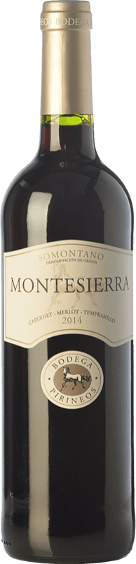 5,95 € Envío gratis | Vino tinto Pirineos Montesierra Joven D.O. Somontano Aragón España Tempranillo, Cabernet Sauvignon Botella 75 cl
