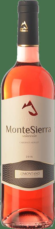 5,95 € Envío gratis | Vino rosado Pirineos Montesierra Joven D.O. Somontano Aragón España Merlot, Cabernet Sauvignon Botella 75 cl