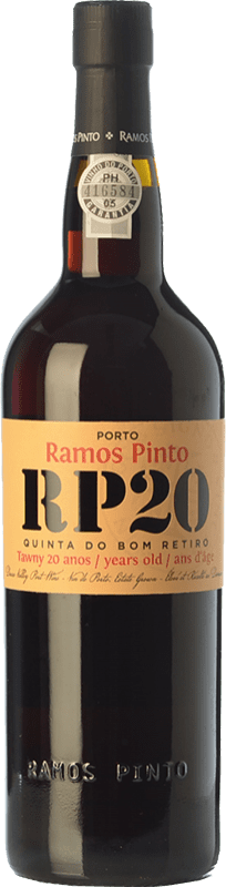 67,95 € 免费送货 | 强化酒 Ramos Pinto 20 Anos Quinta do Bom Retiro I.G. Porto 波尔图 葡萄牙 Touriga Franca, Touriga Nacional, Tinta Roriz, Tinta Cão, Tinta Barroca 瓶子 75 cl