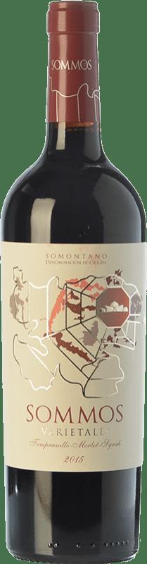 9,95 € 免费送货 | 红酒 Sommos Varietales Crianza D.O. Somontano 阿拉贡 西班牙 Tempranillo, Merlot, Syrah, Cabernet Sauvignon 瓶子 75 cl