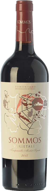 9,95 € Envío gratis | Vino tinto Sommos Varietales Crianza D.O. Somontano Aragón España Tempranillo, Merlot, Syrah, Cabernet Sauvignon Botella 75 cl