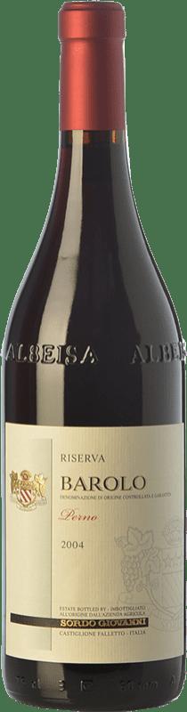 59,95 € Envío gratis | Vino tinto Sordo Perno Riserva Reserva 2004 D.O.C.G. Barolo Piemonte Italia Nebbiolo Botella 75 cl