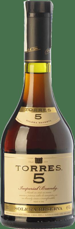 12,95 € Envío gratis | Brandy Torres 5 D.O. Catalunya Cataluña España Botella 70 cl