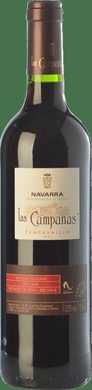 5,95 € Free Shipping | Red wine Vinícola Navarra Las Campanas Joven D.O. Navarra Navarre Spain Tempranillo Bottle 75 cl