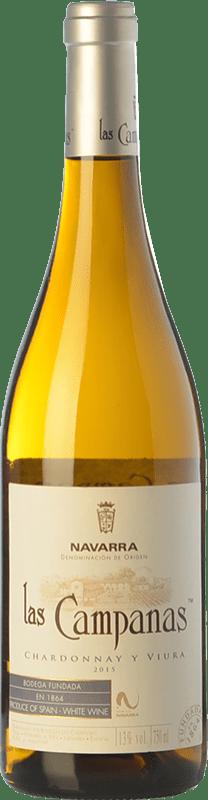 5,95 € Envío gratis | Vino blanco Vinícola Navarra Las Campanas D.O. Navarra Navarra España Viura, Chardonnay Botella 75 cl