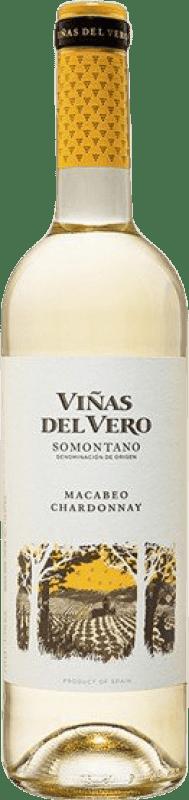 5,95 € Envío gratis | Vino blanco Viñas del Vero Macabeo-Chardonnay Joven D.O. Somontano Aragón España Macabeo, Chardonnay Botella 75 cl