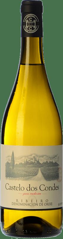 5,95 € Envío gratis | Vino blanco Viñedos de Altura Castelo Dos Condes Joven D.O. Ribeiro Galicia España Palomino Fino Botella 75 cl