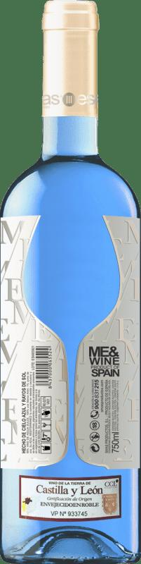 10,95 € Spedizione Gratuita | Vino bianco Esencias ME&Blue Spagna Chardonnay Bottiglia 75 cl