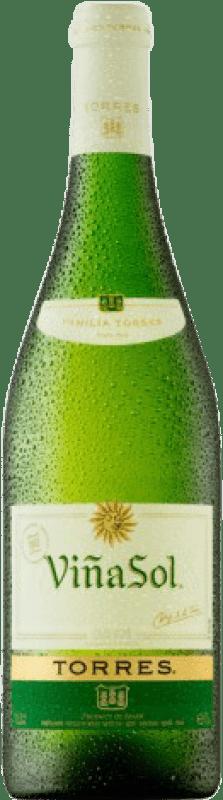 6,95 € Free Shipping | White wine Torres Viña Sol D.O. Penedès Catalonia Spain Chardonnay, Parellada Bottle 75 cl