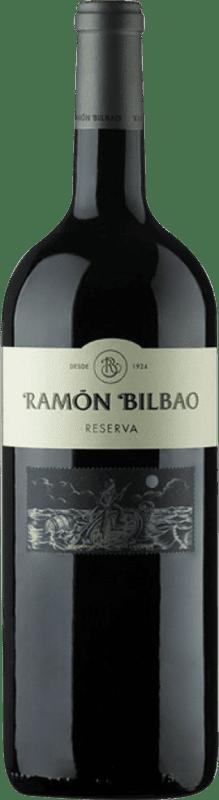 25,95 € Envoi gratuit | Vin rouge Ramón Bilbao Reserva D.O.Ca. Rioja La Rioja Espagne Tempranillo, Graciano, Mazuelo, Carignan Bouteille Magnum 1,5 L