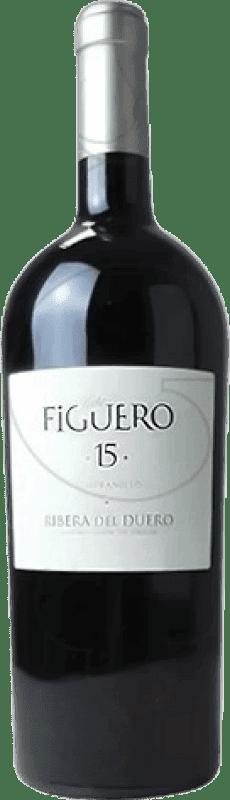 59,95 € Envío gratis | Vino tinto Figuero 15 meses Reserva D.O. Ribera del Duero Castilla y León España Tempranillo Botella Mágnum 1,5 L