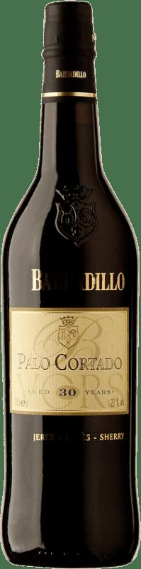 84,95 € 免费送货 | 强化酒 Barbadillo 30 Años Palo Cortado D.O. Jerez-Xérès-Sherry Andalucía y Extremadura 西班牙 Palomino Fino 瓶子 75 cl