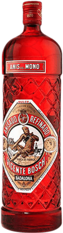 15,95 € Envío gratis | Anisado Anís del Mono Edición Botella Roja Dulce España Botella Mágnum 1,5 L