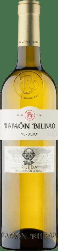 13,95 € Envío gratis | Vino blanco Ramón Bilbao Joven D.O. Rueda Castilla y León España Verdejo Botella Mágnum 1,5 L