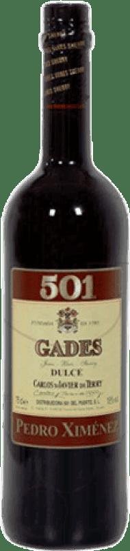 7,95 € Envoi gratuit | Vin fortifié Gades 501 D.O. Jerez-Xérès-Sherry Andalucía y Extremadura Espagne Pedro Ximénez Bouteille 75 cl