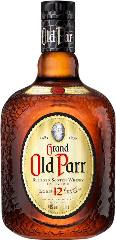 41,95 € Free Shipping | Whisky Blended Old Parr 12 Años Reserva United Kingdom Missile Bottle 1 L