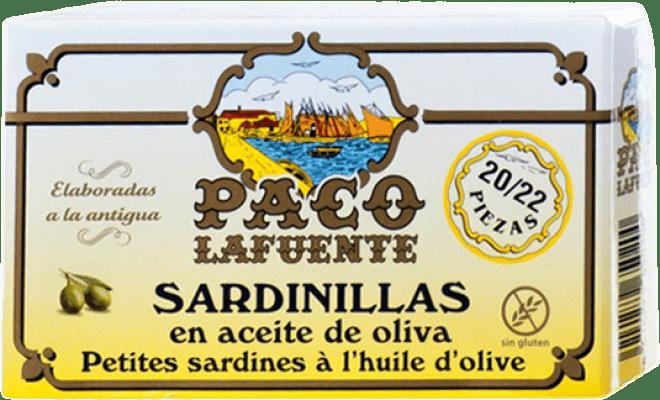 4,95 € Envoi gratuit | Conservas de Pescado Conservera Gallega Paco Lafuente Sardinillas en Aceite de Oliva Galice Espagne 20/25 Pièces