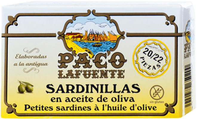 4,95 € Free Shipping | Conservas de Pescado Conservera Gallega Paco Lafuente Sardinillas en Aceite de Oliva Galicia Spain 20/25 Pieces