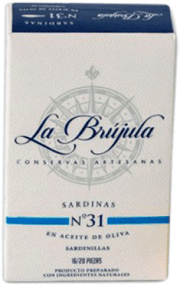 3,95 € Envoi gratuit | Conservas de Pescado La Brújula Sardinillas en Aceite de Oliva Espagne 15/20 Pièces