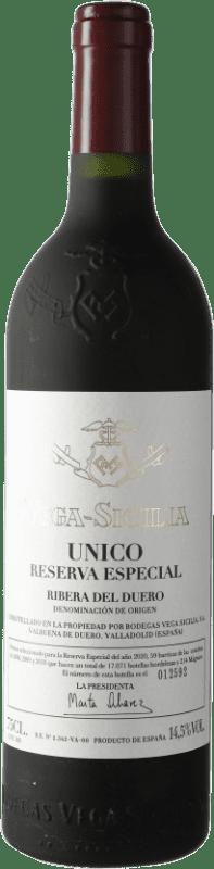 475,95 € Envío gratis | Vino tinto Vega Sicilia Único Especial Reserva 2010 D.O. Ribera del Duero Castilla y León España Tempranillo, Cabernet Sauvignon Botella 75 cl