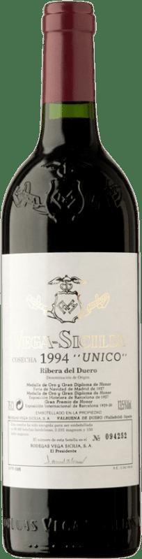 629,95 € 免费送货 | 红酒 Vega Sicilia Único Gran Reserva 1994 D.O. Ribera del Duero 卡斯蒂利亚莱昂 西班牙 Tempranillo, Merlot, Cabernet Sauvignon 瓶子 75 cl