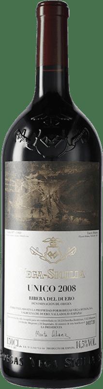 783,95 € Envío gratis | Vino tinto Vega Sicilia Único Gran Reserva 2008 D.O. Ribera del Duero Castilla y León España Tempranillo, Cabernet Sauvignon Botella Mágnum 1,5 L