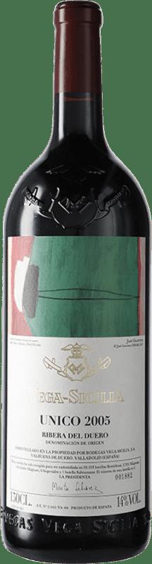 885,95 € Envío gratis | Vino tinto Vega Sicilia Único Gran Reserva 2005 D.O. Ribera del Duero Castilla y León España Tempranillo, Cabernet Sauvignon Botella Mágnum 1,5 L